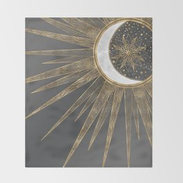 Elegant Gold Doodles Sun Moon Mandala Design Throw Blanket