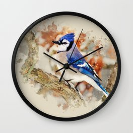 Watercolor Blue Jay Art Wall Clock