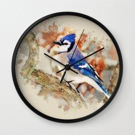 Watercolor Blue Jay Art Wall Clock