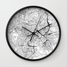 Rome White Map Wall Clock