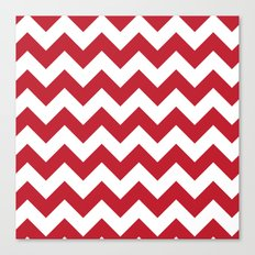 Red and White Bold Chevron Stripes Canvas Print