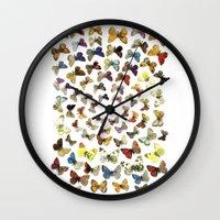 butterflies Wall Clocks featuring Butterflies by Ben Giles