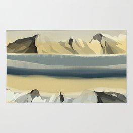 Nature Peaceful Dreamy Mountains Landscape Watercolor Effect Design Rug