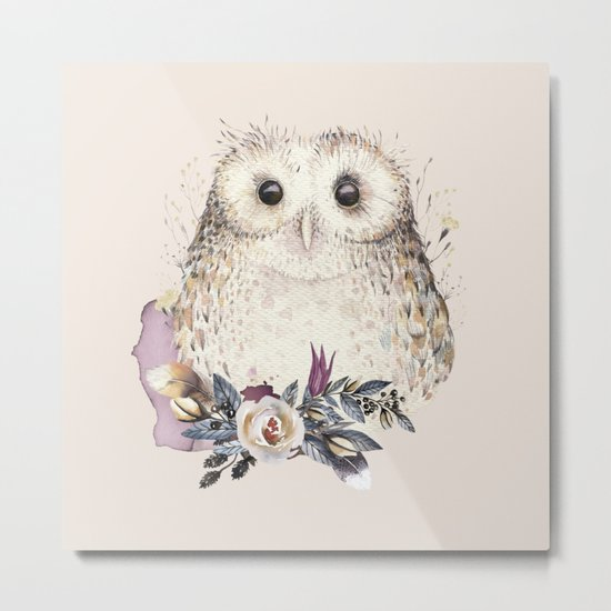 Boho Illustration- Be Wise Little Owl Metal Print