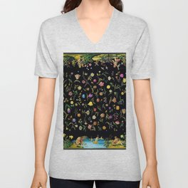 Flowers & the Four Elements Secret Garden Floral Pattern Portrait Unisex V-Neck