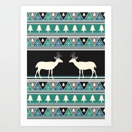 Christmas pattern with deer Art Print