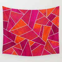hot pink Wall Tapestries featuring Hot Pink & Orange stone by Elisabeth Fredriksson