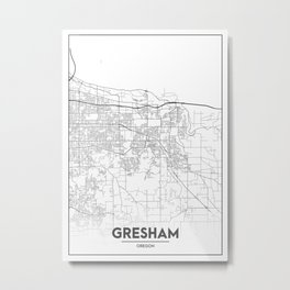 Minimal City Maps - Map Of Gresham, Oregon, United States Metal Print