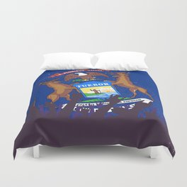 Michigan State Flag with Audience Duvet Cover