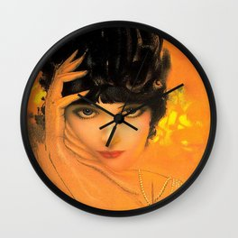 Vintage Glamour Girl Flapper Wall Clock
