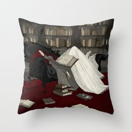 Asleep in the Library Throw Pillow