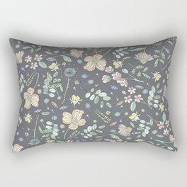 Country Flowers - French Grey Rectangular Pillow
