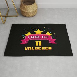 Level Up 11 years old unlocked 8 bit video game  Rug