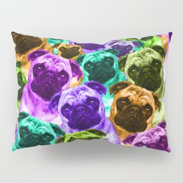 Colorful  Pug Pattern Pillow Sham