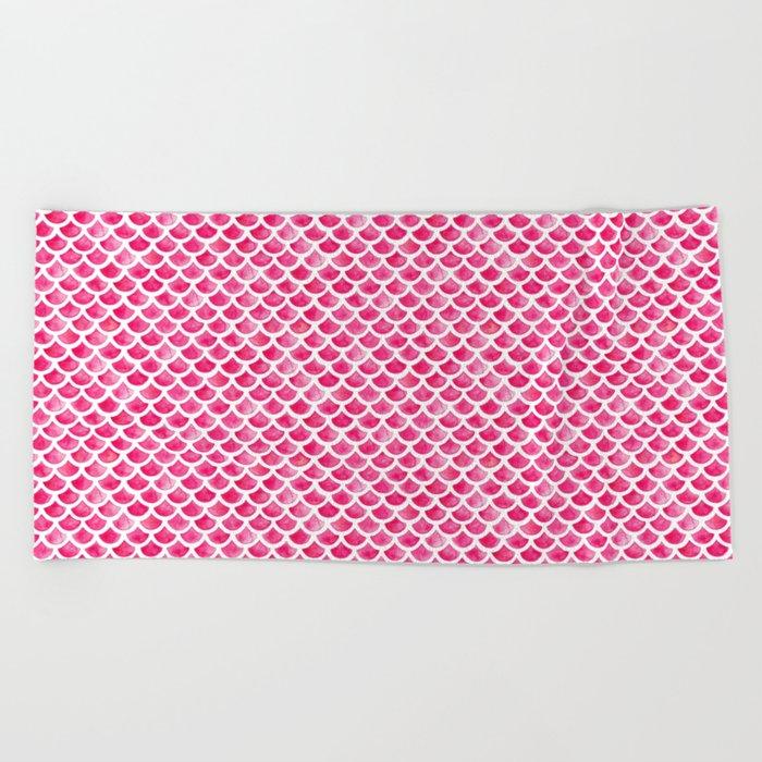 Pink Mermaid Scales Beach Towel