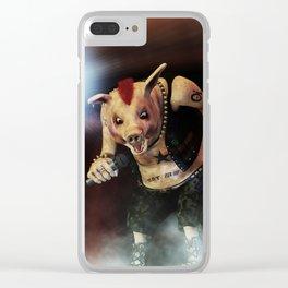 Pig Vicious - Hog Save The Queen - Punk Rock Pig Artwork Clear iPhone Case