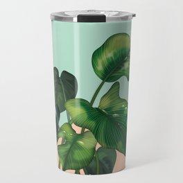 Monstera on mint and pink Travel Mug