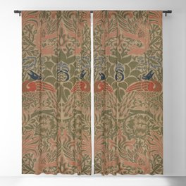 Peacock and Dragon by William Morris 1878, Antique Vintage Wall Hanging Pattern CC0 Spring Summer Blackout Curtain