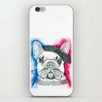 frenchie iPhone & iPod Skins featuring Frenchie by Irasema Langarica
