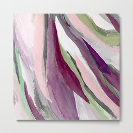 Blossom [3]: a pretty acrylic piece in greens, pinks, white, and purple. Simple minimal elegant Metal Print