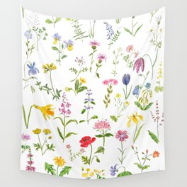 botanical colorful countryside wildflowers watercolor painting Wall Tapestry