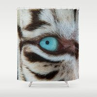 andreas preis Shower Curtains featuring WHITE TIGER BEAUTY by Catspaws