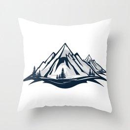 Mountain nature snow winter ski snowboard gift Throw Pillow