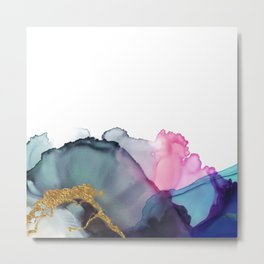 Blush and Blue Turquoise Gold Flowing Abstract Painting Metal Print