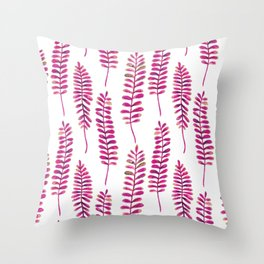 Watercolour Fern Pattern | Pink and Gold Throw Pillow