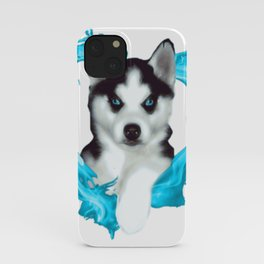 Husky puppy with heart iPhone Case