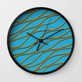 Wave Gold Chain Blue Wall Clock