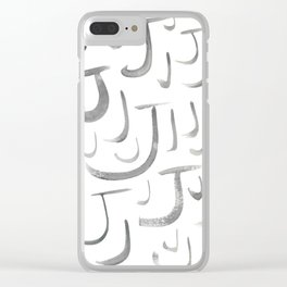 Watercolor J's - Grey Gray Clear iPhone Case