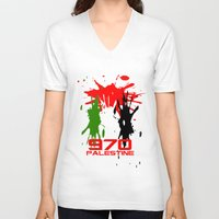 palestine V-neck T-shirts featuring Palestine Code by Maxvtis