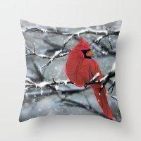 cardinal Throw Pillows featuring Cardinal by Ben Geiger