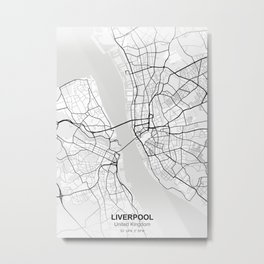 liverpool city map white Metal Print