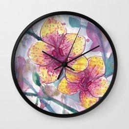 Orchid Splatter Wall Clock