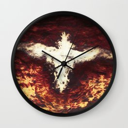 Fantasy artwork. Angel or Damon? Winged crature with crown. Wall Clock