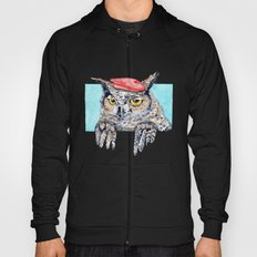 Serious Horned Owl in Red Beret  Hoody