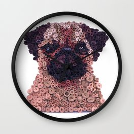 PUG- Hand-Rolled Paper Art Wall Clock