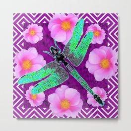 Decorative Nouveau Aqua Dragonfly Pink Roses Metal Print