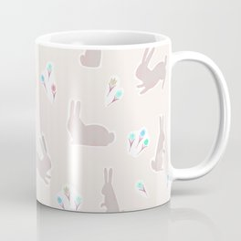 Floral Bunnies in Pale Peach Coffee Mug