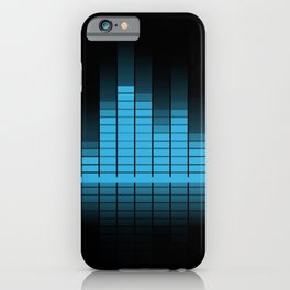 Blue Graphic Equalizer on Black iPhone Case