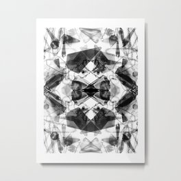 black and white pendulum Mandala Metal Print