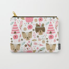 Pink Boho Animals Carry-All Pouch
