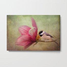Welcome Spring - Chickadee - Bird and Flower Metal Print
