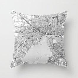 Vintage Map of Jacksonville Florida (1950) BW Throw Pillow