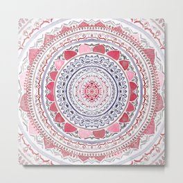 Red & Leisure Blue Mandala Metal Print