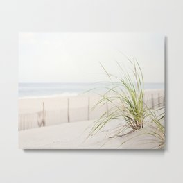 Beach Grass Coastal Photography, Seashore Jersey Shore Photograph Metal Print