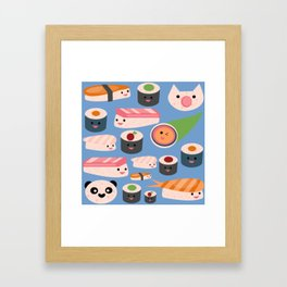 Kawaii sushi blue Framed Art Print