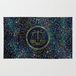 Libra Zodiac Gold Abalone on Constellation Rug
